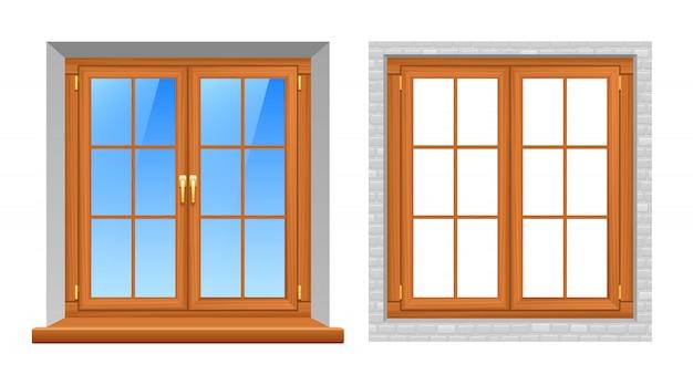 Icônes réalistes de fenêtres en bois intérieur extérieur