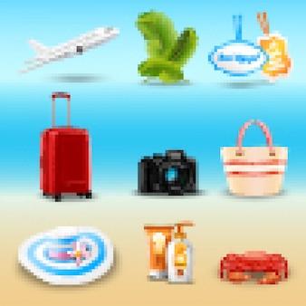 Icônes réalistes de vacances