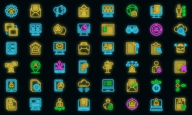 Icônes de recherche d'emploi en ligne définies néon vectoriel