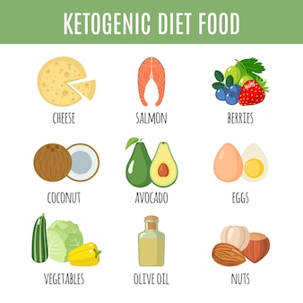 Icônes de régime cétogène définies dans un style plat isolé sur fond blanc. collection de nourriture keto. nourriture saine. illustration vectorielle.