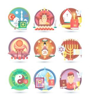 Icônes de religion et de confession. illustration de concept coloré.