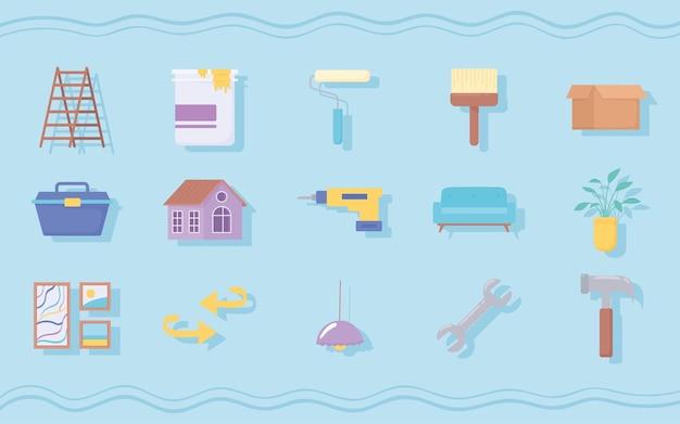Icônes de rénovation domiciliaire