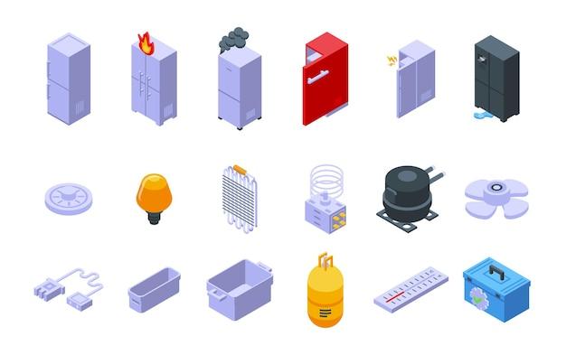 Les icônes de réparation de réfrigérateur définissent le vecteur isométrique. entretien du réfrigérateur