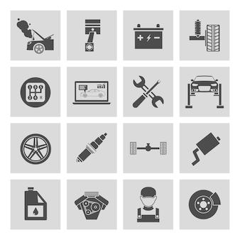 Icônes de réparation de voiture en noir et blanc