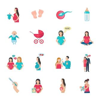 Icônes de reproduction de grossesse et d'accouchement