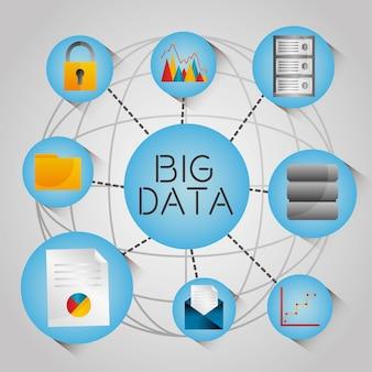 Icônes de réseau de technologie analytique de données big globe