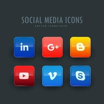 Icônes de réseaux sociaux ensemble de six dans un pack
