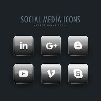 Icônes de réseaux sociaux paquet en nuance de gris