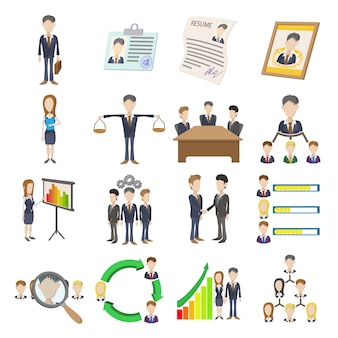 Icônes de ressources humaines définies dans un vecteur isolé de style dessin animé