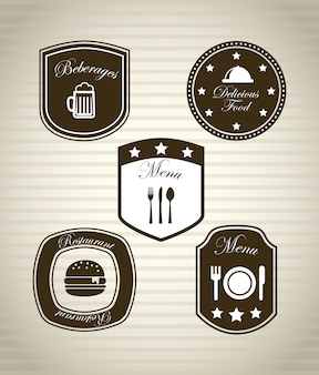 Icônes de restaurant au cours de l'illustration vectorielle fond vintage