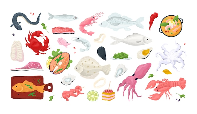 Icônes de restaurant menu poisson fruits de mer sertie de fruits de mer, crabe, crevettes, coquille l illustration. tranche de crustacés, poulpes, calamars, huîtres et saumon. marché de repas gastronomiques de fruits de mer.