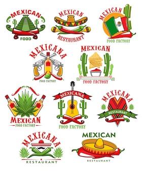 Icônes de restaurant mexicain, emblèmes de dessin animé avec des symboles traditionnels du mexique