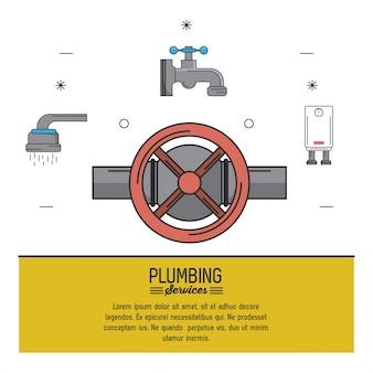 Icônes de robinet et de plomberie sur le dessus