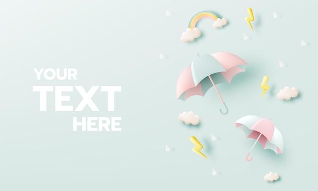 Icônes de la saison de la mousson avec un nuage de gouttes de pluie parapluie et un flash d'éclairage dans des couleurs pastel.
