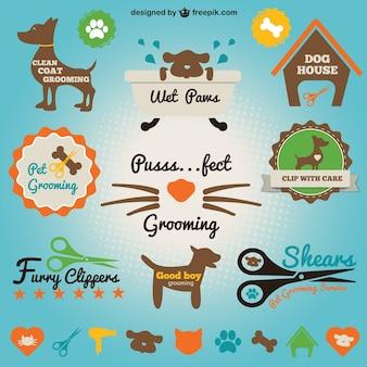 Icônes de salon des animaux de compagnie figurant