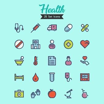 Icônes de santé définies styles de contour remplis