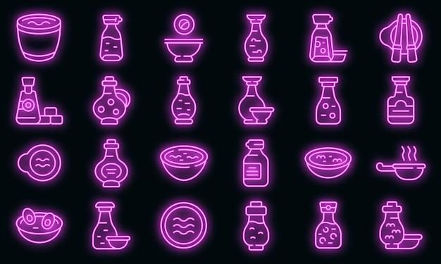 Icônes de sauce soja définies vector néon