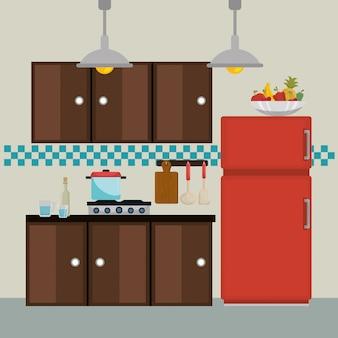 Icônes de la scène moderne de cuisine