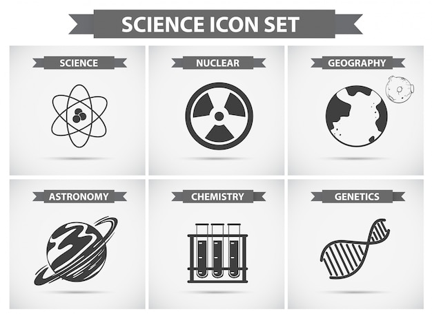 Icônes de science pour différents domaines d'études