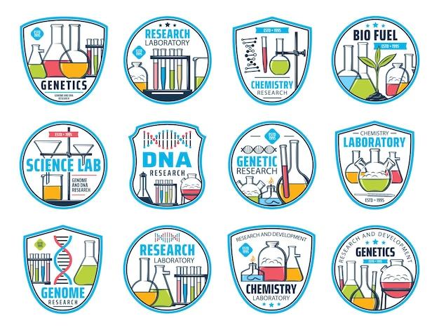 Icônes de la science, de la recherche et de la chimie. adn et icônes vectorielles de laboratoire génétique. recherche sur le génome, développement de la chimie et des biocarburants ou sciences de la biotechnologie et de la biochimie