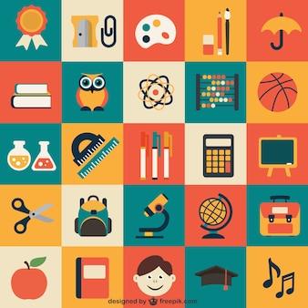 Icônes scolaires emballent