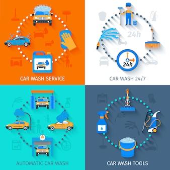 Icônes de service de lavage de voiture à plat