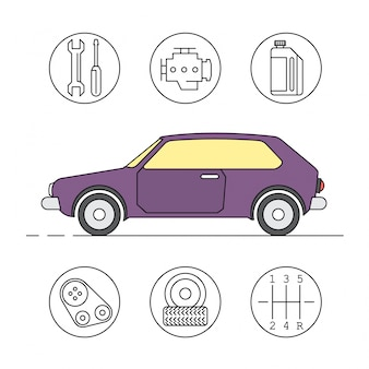 Icônes de service de voiture linéaire