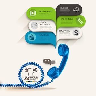 Icônes de services commerciaux et téléphone avec modèle de discours de bulle.