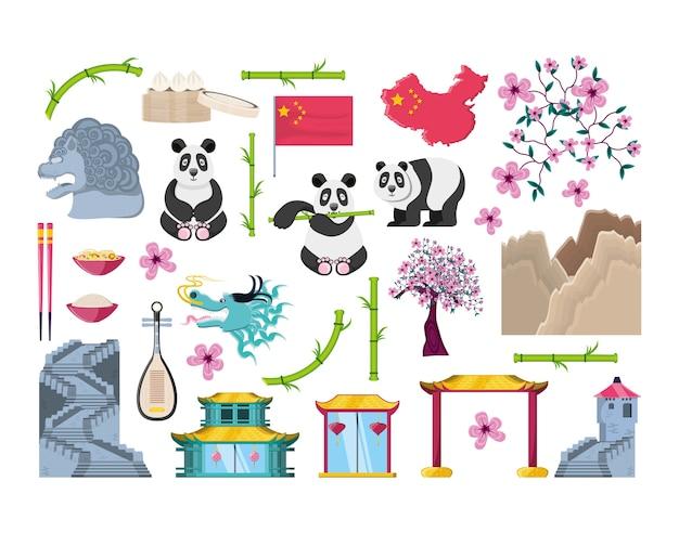 Icônes de set de culture chinoise
