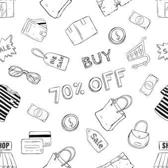Icônes de shopping en ligne doodle e commerce en modèle sans couture