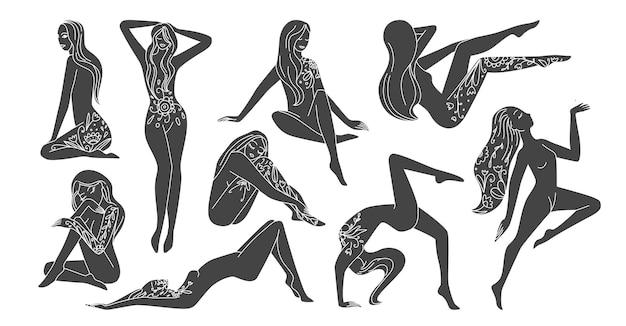 Icônes de silhouette de filles avec des éléments de nature folklorique