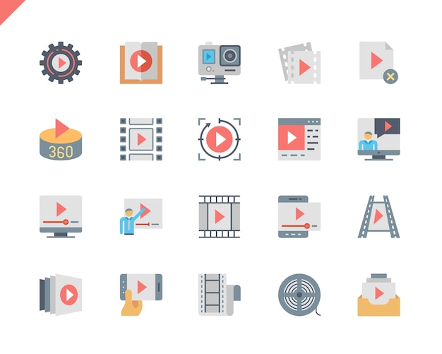 Icônes simples de contenu vidéo set simple