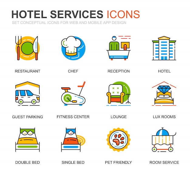 Icônes simples de ligne de service d'hôtel pour le site web