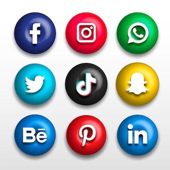 Icônes de site web social populaire 3d