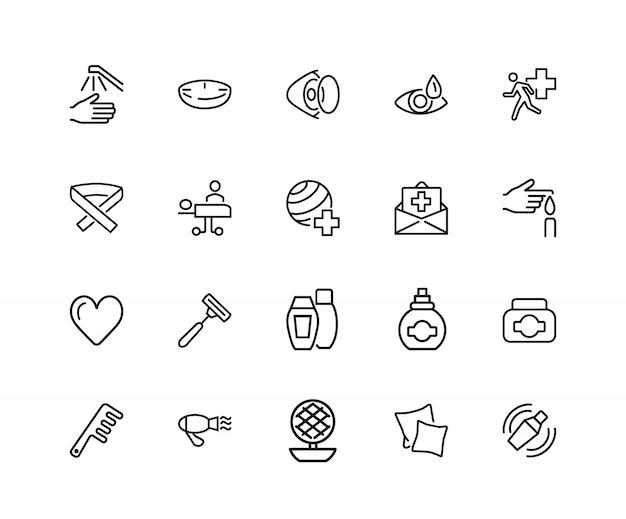 Icônes de soins personnels et personnels. ensemble de vingt icônes de ligne. assurance, coiffure, vue