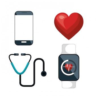 Icônes de soins de santé numériques scénographie isolé