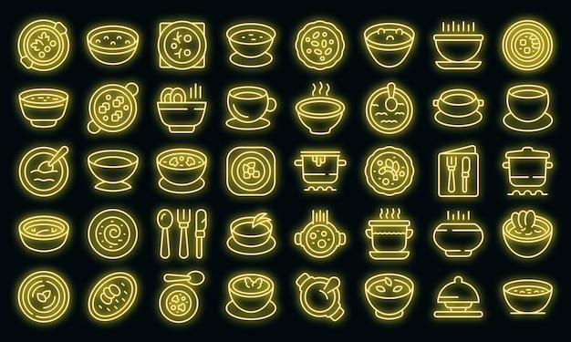 Icônes de soupe à la crème définies vecteur néon