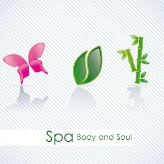 Icônes de spa au cours de l'illustration vectorielle fond clair