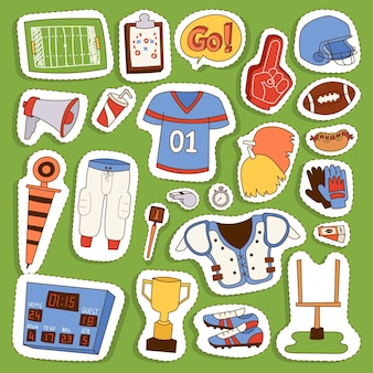 Icônes de sport uniforme de joueur de football américain