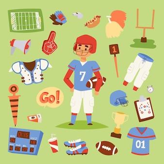 Icônes de sport uniformes de joueur de football américain isolés sur les gens uniformes de sport athlète de fond