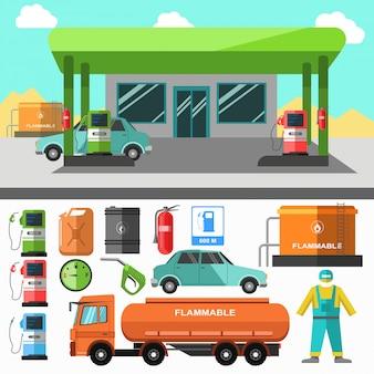 Icônes de station d'essence. symboles de ravitaillement.