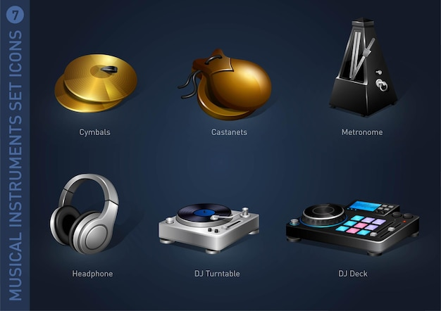 Icônes de stock d'instruments de musique partie 7