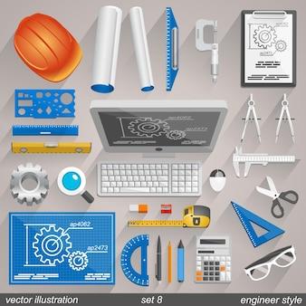 Icônes De Style Ingénieur De Vecteur. Ensemble 8 Illustration Art Vecteur Premium