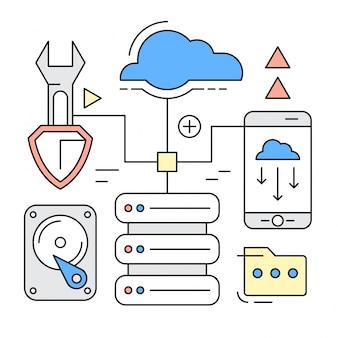 Icônes de style linéaire et éléments de concept de cloud computing