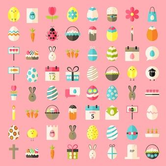 Icônes de style plat de pâques. ensemble d'icônes stylisées plat