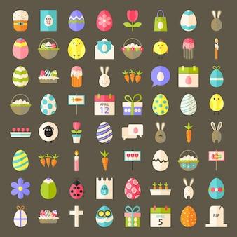 Icônes de style plat de pâques. grand ensemble d'icônes stylisées à plat de pâques.