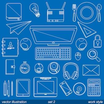 Icônes de style de travail vectoriel. set 2 illustration art