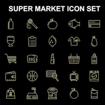 Icônes de super marché mis en vecteur