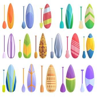 Icônes de surf sup définies. ensemble de dessin animé d'icônes vectorielles sup surf