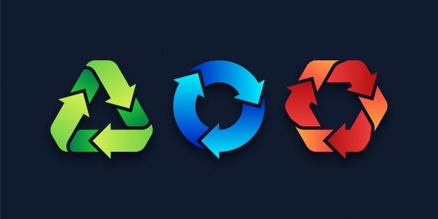 Icônes de symbole de recyclage